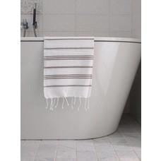 Ottomania hamam handdoek wit/donkerolijfgroen
