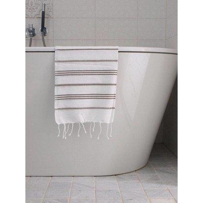 Ottomania hamam handdoek wit met donkerolijfgroene strepen 100x50cm