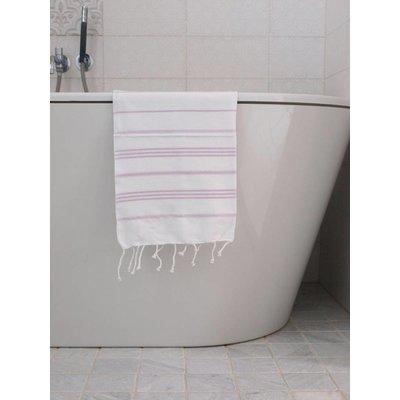 Ottomania hamam handdoek wit met lichtlila strepen 100x50cm