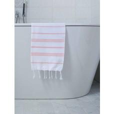 Ottomania hamam handdoek wit/donkerperzik