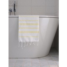 Ottomania hamam handdoek wit/citroengeel