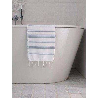 Ottomania hamam handdoek wit met jeansblauwe strepen 100x50cm