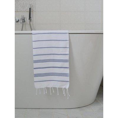 Ottomania hamam handdoek wit met marineblauwe strepen 100x50cm