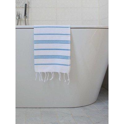 Ottomania hamam handdoek wit met helderblauwe strepen 100x50cm