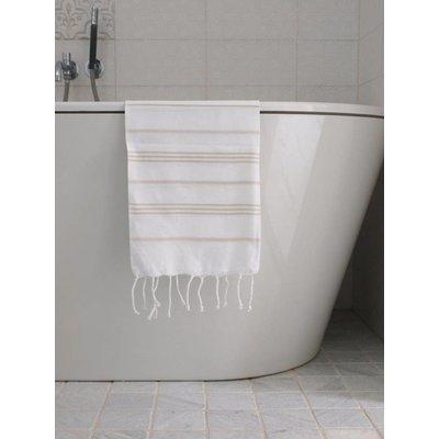 Ottomania hamam handdoek wit met beige strepen 100x50cm