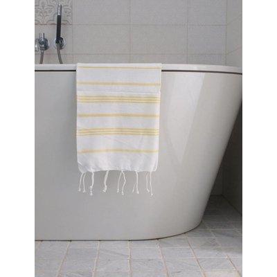 Ottomania hamam handdoek wit met gele strepen 100x50cm