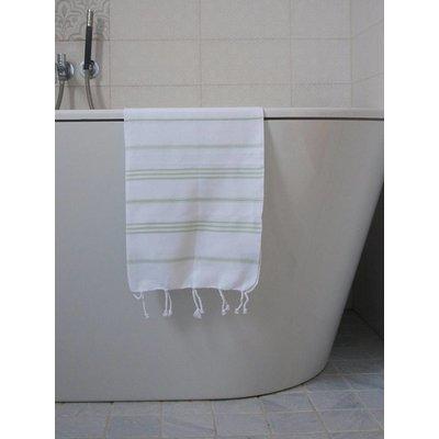 Ottomania hamam handdoek wit met lichtgroene strepen 100x50cm