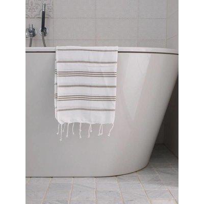 Ottomania hamam handdoek wit met olijfgroene strepen 100x50cm