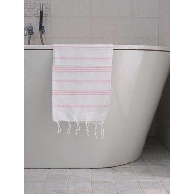 Ottomania hamam handdoek wit met roze strepen 100x50cm