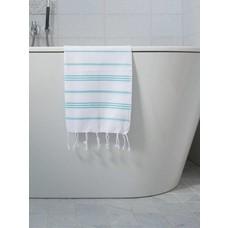 Ottomania hamam handdoek wit/aqua