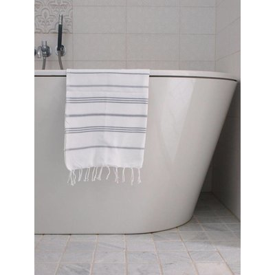 Ottomania hamam handdoek wit met grijze strepen 100x50cm