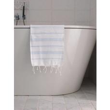 Ottomania hamam handdoek wit/lichtblauw