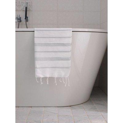 Ottomania hamam handdoek wit met lichtgrijze strepen 100x50cm