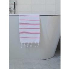 Ottomania hamam handdoek wit/zuurstokroze
