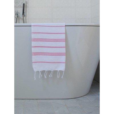 Ottomania hamam handdoek wit met zuurstokroze strepen 100x50cm