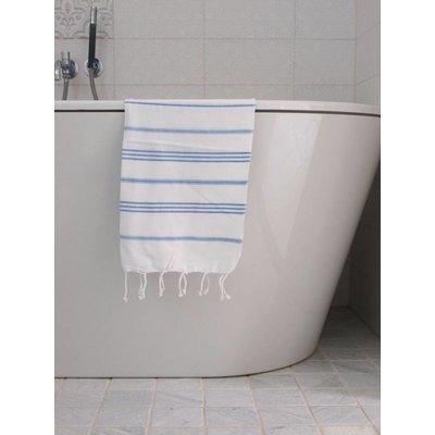 Ottomania hamam handdoek wit met blauwe strepen 100x50cm