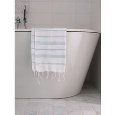 Ottomania hamam handdoek wit/zeegroen
