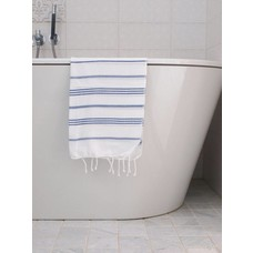 Ottomania hamam handdoek wit/parlementblauw