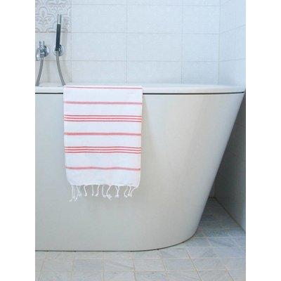 Ottomania hamam handdoek wit met koraalrode strepen 100x50cm