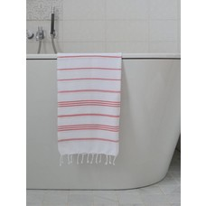 Ottomania hamam handdoek wit/steenrood