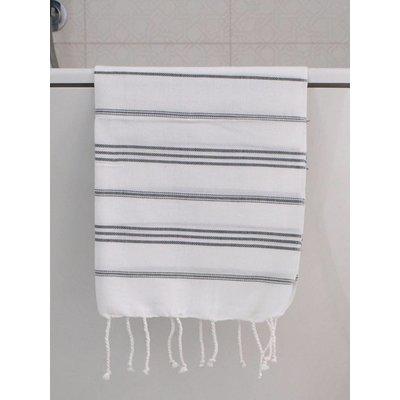 Ottomania hamam handdoek wit met donkergrijze strepen 100x50cm