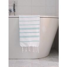 Ottomania hamam handdoek wit/donkerzeegroen