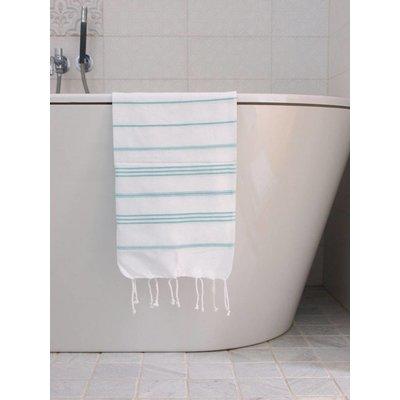 Ottomania hamam handdoek wit met donkerzeegroene strepen 100x50cm
