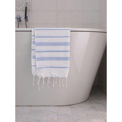 Ottomania hamam handdoek wit met lavendelblauwe strepen 100x50cm