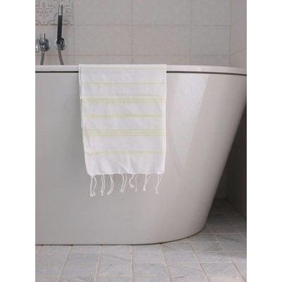 Ottomania hamam handdoek wit met lime strepen 100x50cm