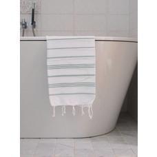 Ottomania hamam handdoek wit/grijsgroen