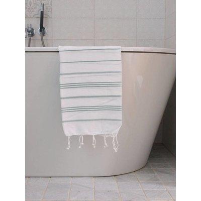 Ottomania hamam handdoek wit met grijsgroene strepen 100x50cm