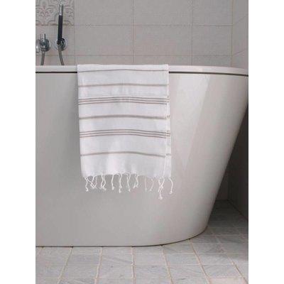 Ottomania hamam handdoek wit met grijsbeige strepen 100x50cm