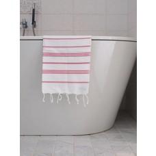 Ottomania hamam handdoek wit/fuchsia