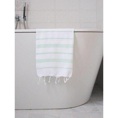 Ottomania hamam handdoek wit met helderzeegroene strepen 100x50cm
