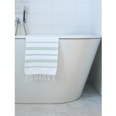 Ottomania hamam handdoek wit/pistache