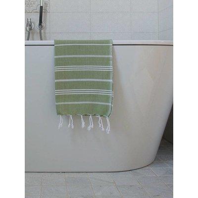 Ottomania hamam handdoek mosgroen met witte strepen 100x50cm - Copy - Copy