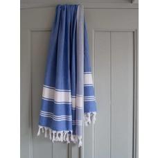 Ottomania hamamdoek Honingraat grieksblauw/wit