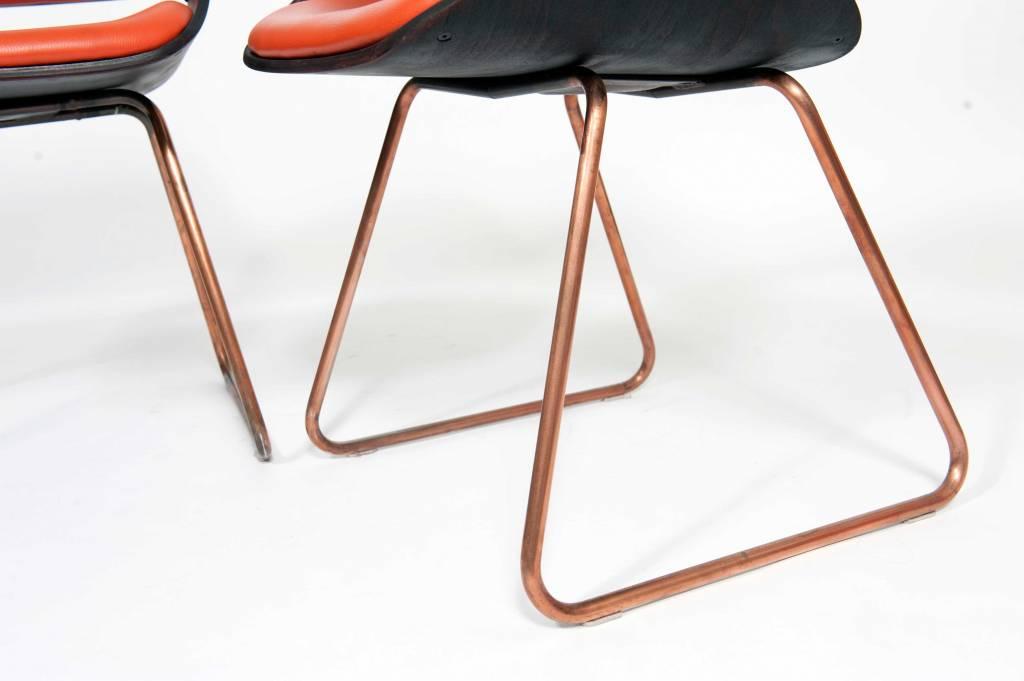 Eetkamer Van Oranje : Vintage plywood rudi verelst eetkamer stoelen oranje wonderwood