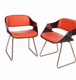 Vintage Plywood Verelst Eetkamer Stoelen Oranje