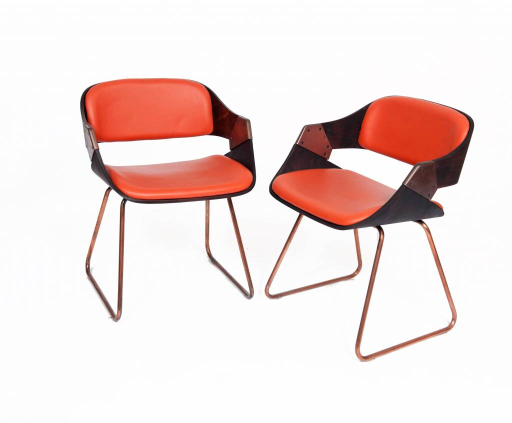 Vintage Plywood Rudi Verelst Eetkamer Stoelen Oranje - WonderWood