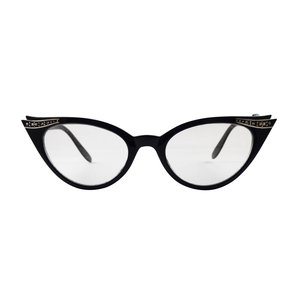 BK QUINCY BLACK - BLACK CAT EYE GLASSES VINTAGE 1950S FASHION CLEAR LENS GLASSES RHINESTONES