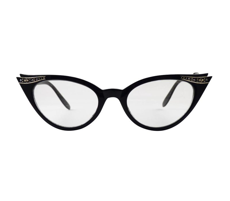 QUINCY BLACK - BLACK CAT EYE GLASSES VINTAGE 1950S FASHION CLEAR LENS GLASSES RHINESTONES