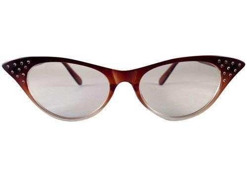 BK Bruin/Transparante Vlinderbril - Angie