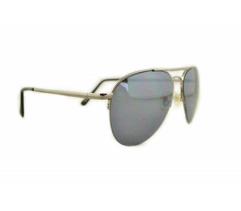 Zilveren Pilotenbril met grijze glazen - Climax