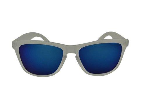 BK Transparante Spiegel Zonnebril met Blauwe spiegelglazen - Shine Way