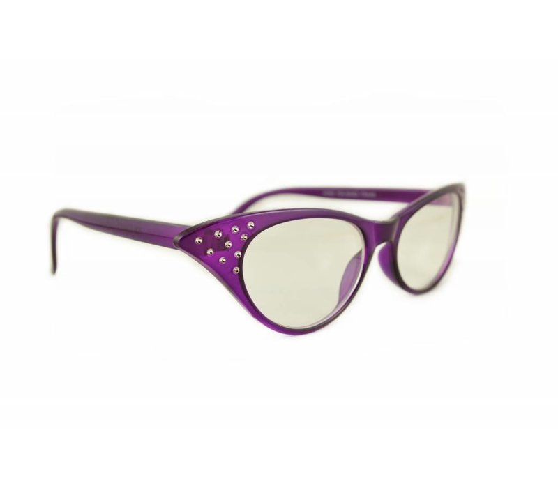 ANGIE PURPLE - PURPLE CATEYE CLEAR LENS GLASSES