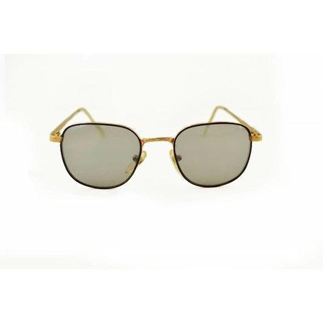 Goudkleurige Retro Zonnebril met Spiegelglazen