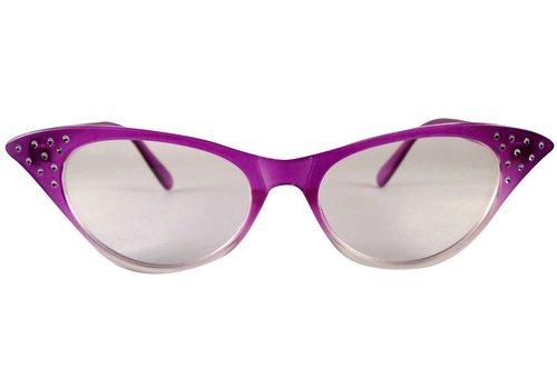 BK Paars/Transparante Vlinderbril - Angie