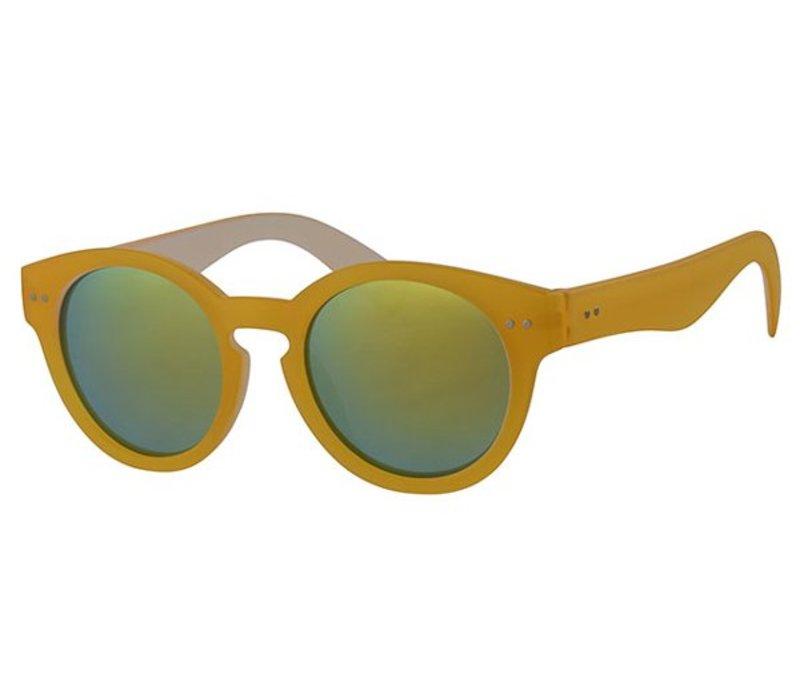 Retro Unisex Ronde Spiegel Zonnebril Summer Nights - Hot Yellow