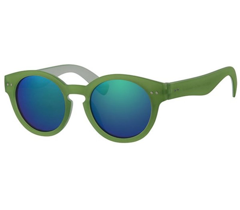 Retro Unisex Ronde Spiegel Zonnebril Summer Nights - Green Mirror